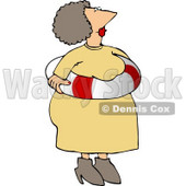 Obese Elderly Woman Wearing an Emergency Life Preserver Float Tube Around Her Waist Clipart © djart #4938