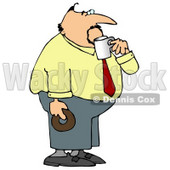Obese Businessman On His Coffee & Donut Break Clipart © Dennis Cox #4939