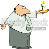 Business Man Holding a Lit Candle During a Power Outage Clipart © djart #4944