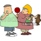 Girl Watching Nasty Boy Pick His Nose with His Pointer Finger Clipart © djart #4946