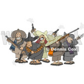Group of Crazy Mexican Bandits Shooting Guns Clipart © Dennis Cox #4947