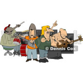 Rock Band Playing Music Clipart © Dennis Cox #4948