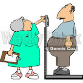 Nurse Weighing Overweight Man On a Scale Clipart © djart #4949