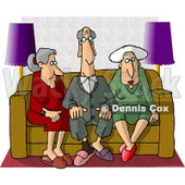 Old People Sitting Together On a Couch Clipart © Dennis Cox #4950