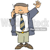 Business Man Talking On a Cellphone and Waving at Someone Clipart © djart #4951