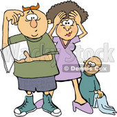 New Mom and Dad Trying to Figure Out How to Raise a Baby Boy Clipart © Dennis Cox #4955