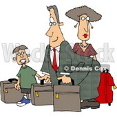 Dad, Mom, and Son Going On Vacation Clipart - Travel Clip Art © Dennis Cox #4956