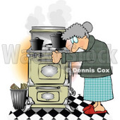 Elderly Woman Cooking Food On an Old Household Kitchen Stove Clipart © djart #4957