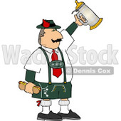 Man Celebrating Oktoberfest with a Beer Stein and Hot Dogs Clipart © djart #4958