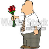 Man Giving Flowers Clipart © Dennis Cox #4964