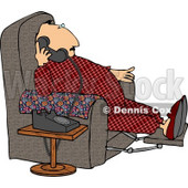 Overweight Couch Potato Man Talking On a Phone Clipart © djart #4970
