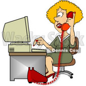 Female Customer Service Representative Talking On Phone and Using Computer Clipart © Dennis Cox #4971