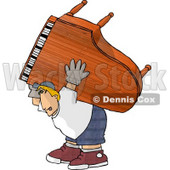 Exaggeration of a Strong Man Moving a Heavy Grand Piano Clipart © Dennis Cox #4972