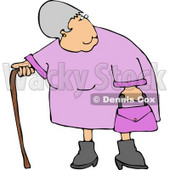 Elderly Obese Woman Standing with a Cane Clipart © djart #4973