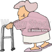 Flirty Obese Woman Sticking Her Tongue Out While Using a Walker Clipart © djart #4976