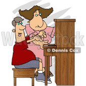 Female Piano Teacher Trying to Teach a Teenage Boy How to Play a Standard Piano Clipart © djart #4981