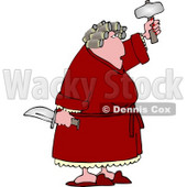 Crazy Woman with PMS Holding a Knife and Hatchet Clipart © djart #4984