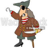 Pirate with Missing Teeth, Hook Hand, Holding a Knife, and a Wooden Leg Clipart © Dennis Cox #4986