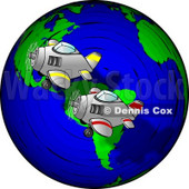 Planes Racing Around the World Clipart © Dennis Cox #4990