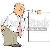 Businessman Wearing a Pink Tie and Holding a Blank Sign Clipart © djart #4991