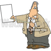 Smiling Male Lawyer Pointing at an Important Blank Piece of Paper Clipart © djart #4992