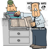 Wanted Man Mailing a Package at the Post Office Clipart © Dennis Cox #4993
