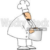 Chef Moving a Big Aluminum Metal Cooking Pot Clipart © Dennis Cox #4994