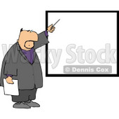 Businessman Pointing at a Blank Board On a Wall Clipart © djart #4995