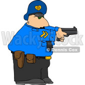 Alert Policeman Pointing His Pistol at a Criminal Clipart © Dennis Cox #4998