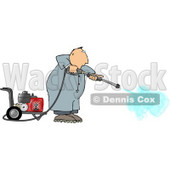 Man Cleaning with a Heavy Duty Gas Powered Pressure Washer Clipart © djart #5004