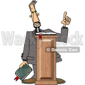 Christian Preacher Holding a Bible and Giving a Speech from Behind a Podium Clipart © Dennis Cox #5005