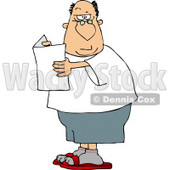 Confused Man Holding a Blank Flier and Raising His Eyebrow  Clipart © Dennis Cox #5022
