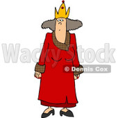 Crowned Woman Wearing a Red Queen Costume On Halloween Clipart © djart #5023