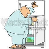 Hungry Overweight Man Looking Through the Refrigerator for Food Clipart © djart #5029