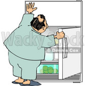 Humorous Obese Man Looking for Something to Eat in the Fridge Clipart © djart #5030