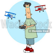 Teenage Boy Flying a Remote Control Model Airplane Clipart © djart #5031