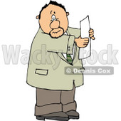 Worried Man Holding a Blank Legal Document In His Hand Clipart © Dennis Cox #5034