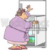 Fat Woman Looking In the Fridge for Something to Eat Clipart © djart #5037