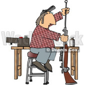 Man Cleaning Inside the Barrel of His Unloaded Rifle Gun Clipart © djart #5039