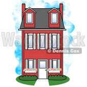Large Three Story Red Brick House Clipart © Dennis Cox #5041