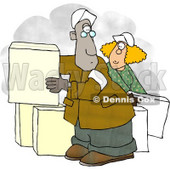 Man and Woman Moving Boxes Clipart © Dennis Cox #5042