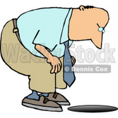 Man Looking Down an Uncovered Manhole Clipart © djart #5043