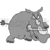 Angry Rhino Charging at Something in Attack Mode Clipart © Dennis Cox #5047