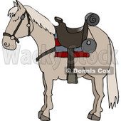 Riderless Horse Wearing Saddle Clipart © Dennis Cox #5048