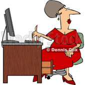 Woman Wearing a Red Dress While Working at a Computer Desk Clipart © Dennis Cox #5050