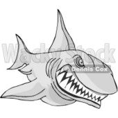 Aggressive Shark Attacking Something Clipart © Dennis Cox #5053