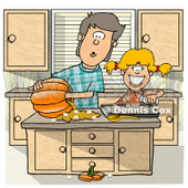 Brother & Sister Carving a Pumpkin in the Kitchen Clipart © djart #5054