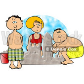 Boys and Girl Building a Sand Castle at the Beach Clipart © Dennis Cox #5055