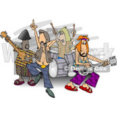 Rock and Roll Band Members Playing Music Clipart © Dennis Cox #5058