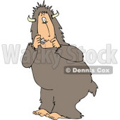 Scared Person Wearing a Halloween Bigfoot Costume Clipart © Dennis Cox #5064